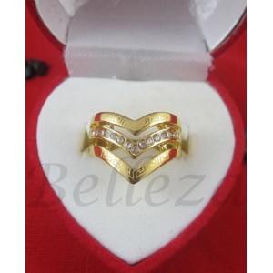 Дамски пръстен със златна баня от медицинска стомана и цирконий R - 457
