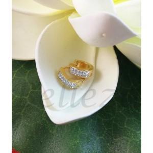 Дамски обеци тип - халки със златна баня от медицинска стомана E - 21691