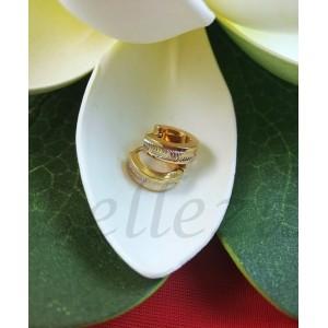 Дамски обеци тип - халки със златна и сребърна баня от медицинска стомана E - 21692