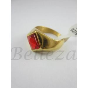 Мъжки пръстен от медицинска стомана с червен камък R - 509