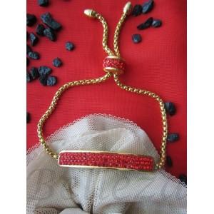 Дамска гривна в златен цвят и червени цирконий B - 1265