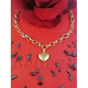 Колие с висулка сърце със златна и сребърна баня от медицинска стомана N - 21611