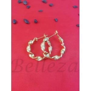 Дамски обеци тип - халки със златна баня от медицинска стомана E - 21701