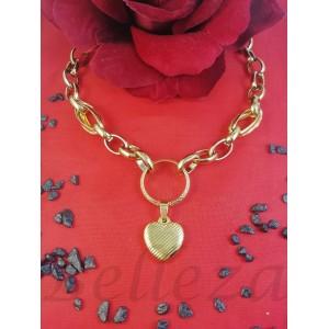 Колие с висулка сърце със златна баня от медицинска стомана N - 21609