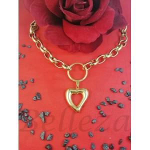 Колие с висулка сърце със златна баня от медицинска стомана N - 21610