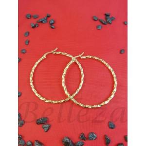 Дамски обеци тип - халки със златна баня от медицинска стомана E - 21719