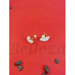 Дамски обеци с винт и златна баня от медицинска стомана и шамбала мотив E - 21718