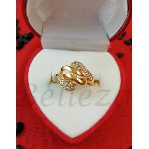 Дамски пръстен със златна баня от медицинска стомана и цирконий R - 613