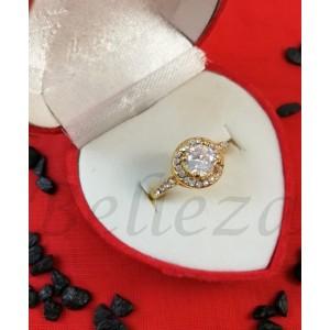 Дамски пръстен със златна баня от медицинска стомана R - 615