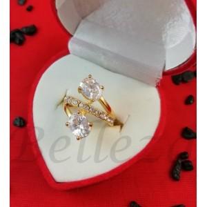 Дамски пръстен със златна баня от медицинска стомана R - 614