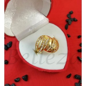 Дамски пръстен със златна баня от медицинска стомана R - 612