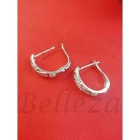 Обеци в сребърен цвят от медицинска стомана и цирконий E - 21786