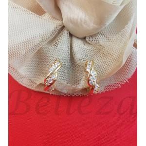 Обеци в златен цвят от медицинска стомана и цирконий E - 21790