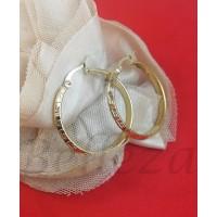 Дамски обеци тип - халки в златен цвят от медицинска стомана Е - 21792