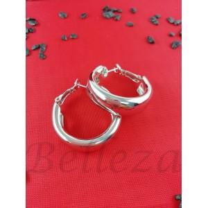 Дамски обеци тип - халки със сребърен баня от медицинска стомана E - 21628