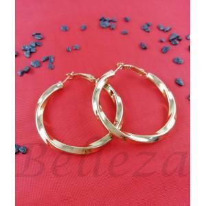 Дамски обеци тип - халки със златна баня от медицинска стомана E - 21629