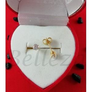 Дамски обеци с винт и златна баня от медицинска стомана и цирконий E - 21632