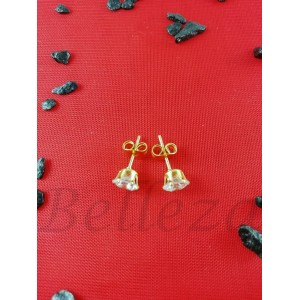 Дамски обеци с винт и златна баня от медицинска стомана и цирконий E - 21631
