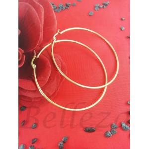 Дамски обеци тип - халки със златна баня от медицинска стомана E - 21640