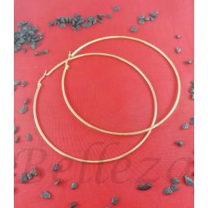 Дамски обеци тип - халки със златна баня от медицинска стомана E 21639