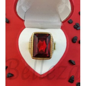 Пръстен в златен цвят от медицинска стомана и червен камък R - 655