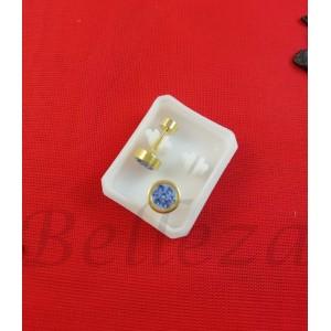 Дамски обеци с винт в златен цвят от медицинска стомана с син шамбала мотив E - 21781