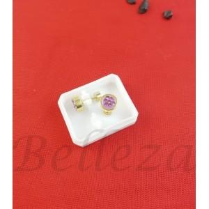 Дамски обеци с винт в златен цвят от медицинска стомана с лилав шамбала мотив E - 21782