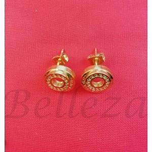 Дамски обеци с винт в златен цвят от медицинска стомана E - 21778