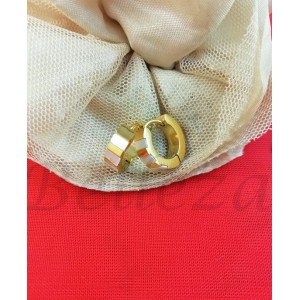 Дамски обеци в златен цвят от медицинска стомана и седеф E - 21777