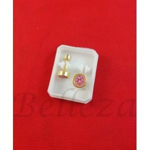 Дамски обеци с винт в златен цвят от медицинска стомана с розов шамбала мотив E - 21783