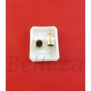 Дамски обеци с винт в златен цвят от медицинска стомана с черен шамбала мотив E - 21780