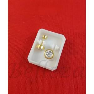 Дамски обеци с винт в златен цвят от медицинска стомана с бял шамбала мотив Е - 21779