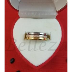 Троен пръстен тип-халка в златен, сребърен цвят и розово златно от медицинска стомана R - 652
