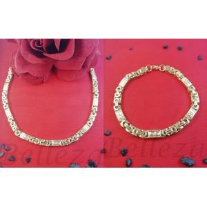 Комплект от ланец и гривна в златен цвят от медицинска стомана S - 2264