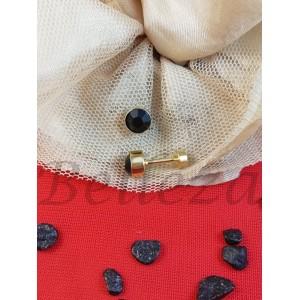 Дамски обеци с винт и златна баня от медицинска стомана и черен цирконий Е - 21714
