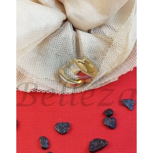 Обеци тип - халки със златна и сребърна баня от медицинска стомана E - 21709