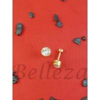 Дамски обеци с винт и златна баня от медицинска стомана и бял цирконий Е - 21711