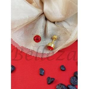 Дамски обеци с винт и златна баня от медицинска стомана и червен цирконий E - 21712