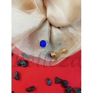 Дамски обеци с винт и златна баня от медицинска стомана и син цирконий E - 21713