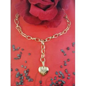 Колие с висулка сърце със златна баня от медицинска стомана N - 21617