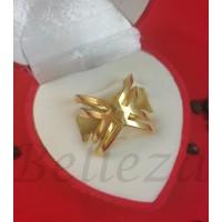Дамски пръстен в златен цвят от медицинска стомана R - 634