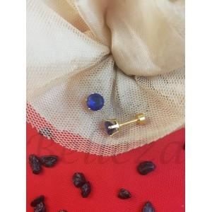 Дамски обеци с винт в златен цвят от медицинска стомана и син цирконий E - 21758