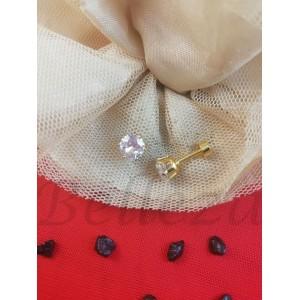 Дамски обеци с винт в златен цвят от медицинска стомана и бял цирконий E - 21760