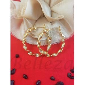 Дамски обеци тип - халки в златен цвят от медицинска стомана E - 21764