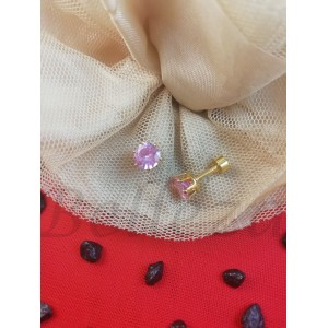 Дамски обеци с винт в златен цвят от медицинска стомана и розов цирконий E - 21759