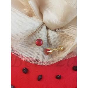 Дамски обеци с винт в златен цвят от медицинска стомана и червен цирконий E - 21761
