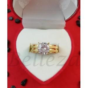 Дамски пръстен със златна баня от медицинска стомана и цирконий R - 99