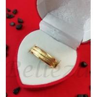 Пръстен тип халка със златна баня от медицинска стомана R - 100