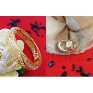 Комплект от обеци и гривна със златна баня от медицинска стомана S - 2222