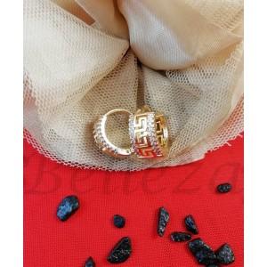 Дамски обеци със златна баня от медицинска стомана и цирконий E - 21676